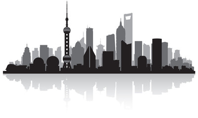 Fototapete - Shanghai China city skyline silhouette