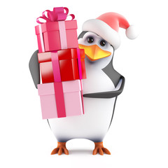Santa Claus Penguin with lots of Christmas presents