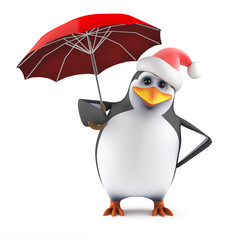 Penguin Santa shelters under an umbrella