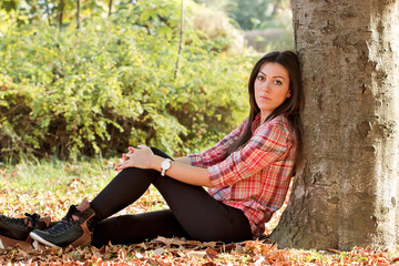 Beautiful girl enjoys the outdoors