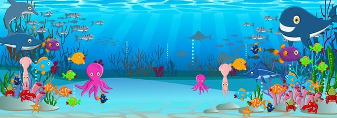 Sea life cartoon background