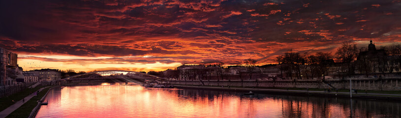 Spoed Fotobehang Bordeaux Beautiful Red Sunset Near a Bridge