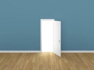 door open on light blue wall ,3d