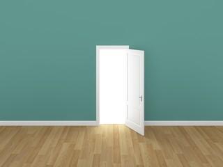 door open on green wall ,3d