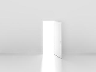 door open on white wall ,3d