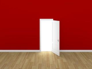 door open on red wall ,3d