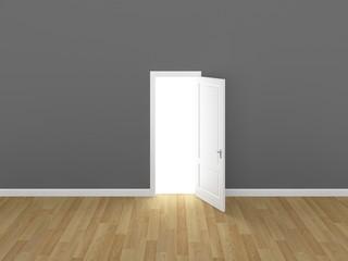 door open on gray wall ,3d