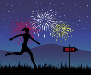 silhouette femminile che corre verso il nuovo anno