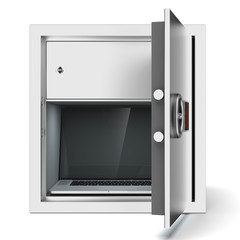 Laptop in metal safe