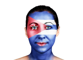 Face with the Cuba flag