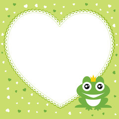 The frog prince with heart shape frame. Vector illustration.