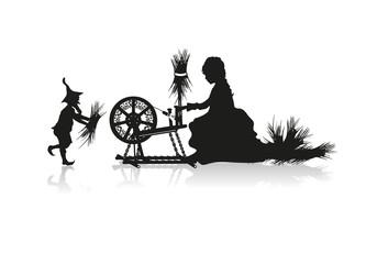 Rumpelstilzchen und Müllerstochter am Spinnrad