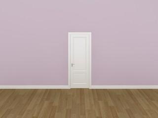door on pink wall ,3d