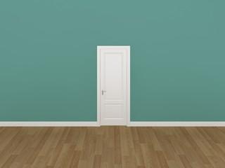 door on green wall ,3d