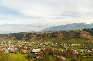 Vintage Rural Village In The Carpathian Mountains