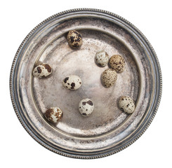 Quail egg on a silver plate, white background