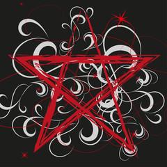 Pentagramm rot auf schwarz Vektor