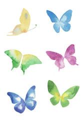 蝶の水彩イラストセット