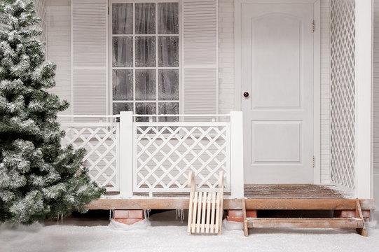 White snowy scenery terrace house