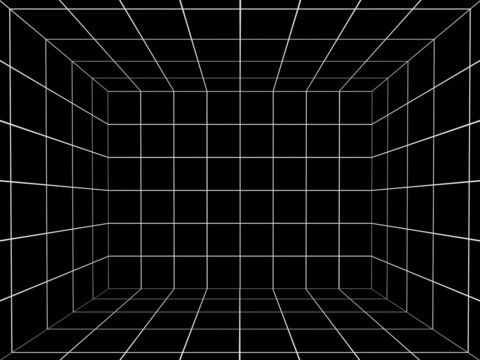 black space with perspective grid , 3d