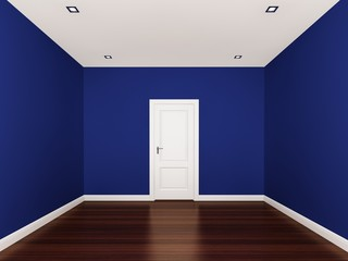 blue wall,empty room,3d nterior