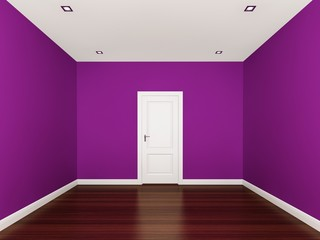purple wall,empty room,3d nterior