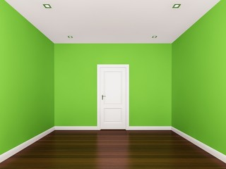 green wall,empty room,3d nterior