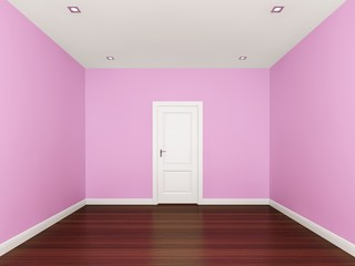 pink wall in a empty room