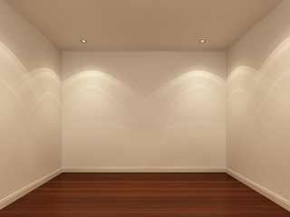 white wall and wood floor in the night ,empty room,3d interior