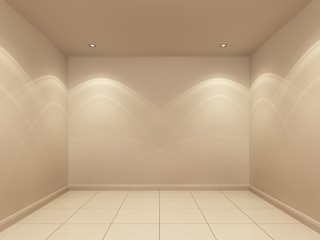 white wall and tiles floor in the night ,empty room,3d interior