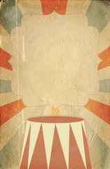 Retro circus style poster template on rhombus background with ri