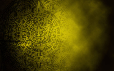 Mayan calendar on old stone texture