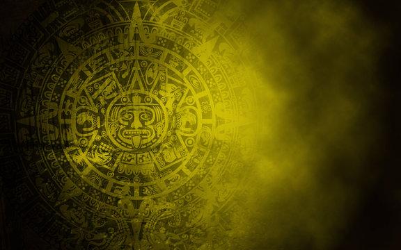 Mayan calendar on old stone texture