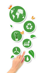 Hand pointing green ecological icons