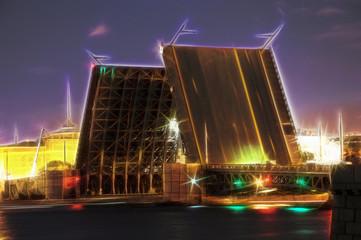 Neva river. Palace Bridge, St.-Petersburg, Russia
