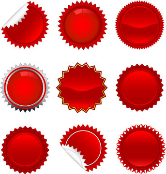 Red starbursts set. To see the other vector starburst illustrations , please check Badge and Label collection.