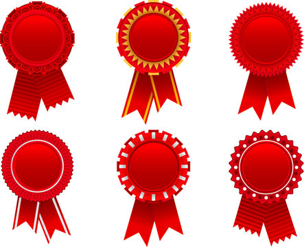 Red award rosette set. To see the other vector rosette illustrations , please check Badge and Label collection.