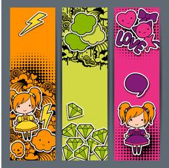 Wall Mural - Vertical banners with sticker kawaii doodles.