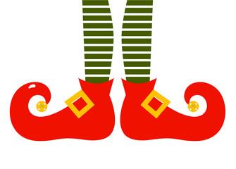 Christmas cartoon elf's legs isolated on white