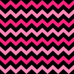 Poster ZigZag Cute Chevron seamless pattern ( black and pink )