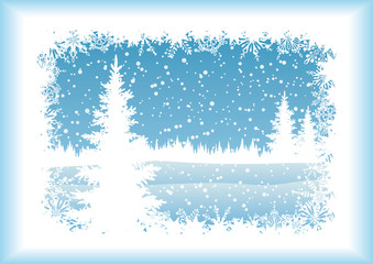 Landscape with Christmas tree, silhouettes