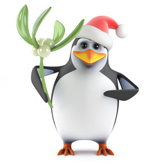 Santa Penguin with mistletoe