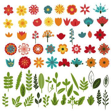 Foliage and flowers set
