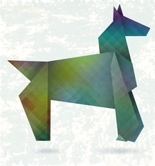 Canvas Prints Geometric animals Abstract horse, paper origami