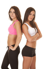 Two women fitness back to back sports bra