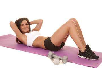 Woman white top fitness crunch smile