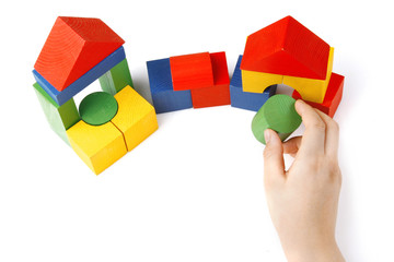 Colored wooden toys