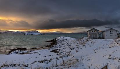 Wall Mural - Sunrise in northern Norway.Rorbu cabins.