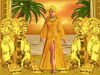 Egyptian royal woman at sunset