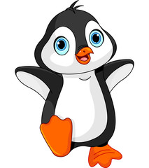 Deurstickers Sprookjeswereld Cartoon baby penguin